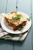 Lasagne al forno con bolognese e bechamel Fotografia Stock