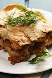 Lasagne al forno con bolognese ed il primo piano del bechamel Fotografia Stock Libera da Diritti