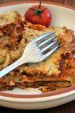 Lasagne al forno con carne su un piatto immagini stock libere da diritti