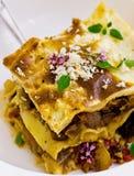 Lasagne al forno con i funghi Fotografia Stock