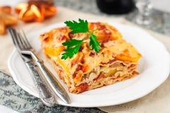 Lasagne al forno della zucca e del pollo, cena di Natale Immagini Stock Libere da Diritti