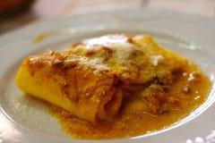 Lasagne al forno in ristorante a Roma Fotografia Stock