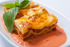 Lasagne al forno su un piatto bianco con l'erba Fotografie Stock Libere da Diritti