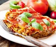Lasagne al forno vegetariane immagine stock libera da diritti