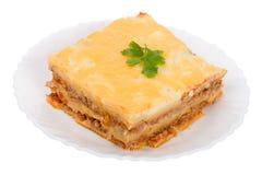 Lasagne auf Platte Lizenzfreie Stockbilder