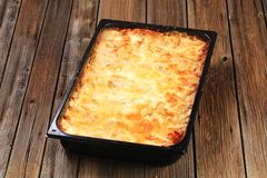 Lasagne in a baking pan Stock Image