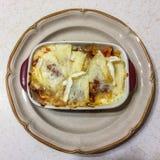 Lasagne, boeuf de saucisse de cuisinier et haché, oignon, et ail au-dessus de la chaleur moyenne jusque bien à brunir photo libre de droits