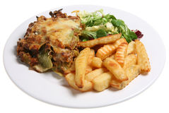 Lasagne & Chips. Lasagne Verdi with crinkle-cut fries and salad Royalty Free Stock Photo