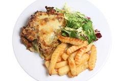 Lasagne and Chips Stock Images