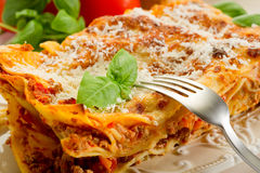 Lasagne com ragu Imagem de Stock