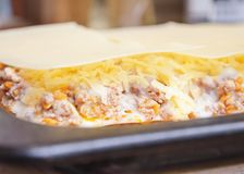Lasagne délicieux avec de la viande couverte du fromage Photos stock