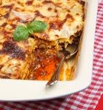 Lasagne dans le paraboloïde de portion images stock