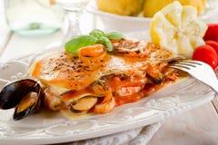 Lasagne de los pescados Foto de archivo