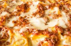 Lasagne dorate fantastiche cucinate a casa immagine stock libera da diritti