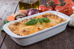 Lasagne in a gratin dish Stock Photography