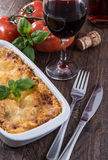 Lasagne in a gratin dish Stock Images