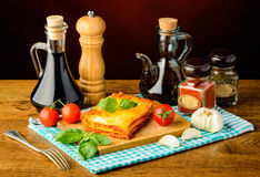 Lasagne and ingredients Stock Image