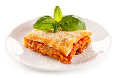 Lasagne with meat, tomato sauce, parmesan and vegetables Stock Photography