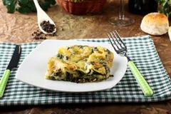 Lasagne med spenat och ricotta Royaltyfria Bilder