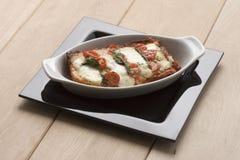 Lasagne mit Tomaten Stockfoto