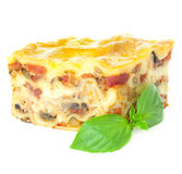 Lasagne quente Home-baked/isolado Fotos de Stock Royalty Free