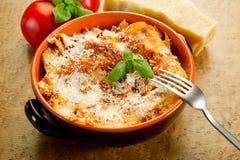 Lasagne with ragu. On bowl Stock Photos