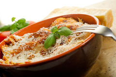 Lasagne with ragu. On bowl Stock Photo