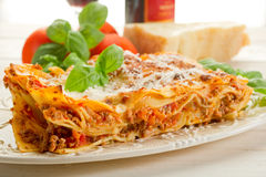 Lasagne with ragu. On dish Stock Photo