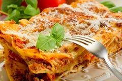 Lasagne with ragu. On dish Stock Image