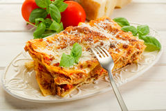 Lasagne with ragu. On dish Stock Images