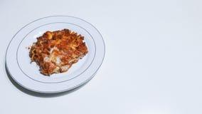 Lasagne. Real italian lasagne on white plate Stock Image