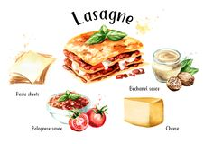 Free Lasagne Recipe Set. Watercolor Hand Drawn Illustration Isolated On White Background. Royalty Free Stock Photo - 130802735