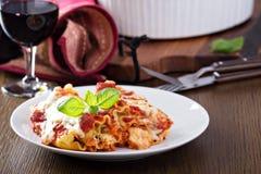 Lasagne rullar med tomatsås Royaltyfri Foto