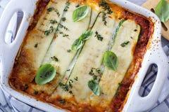 Lasagne sain Bolonais de courgette photographie stock