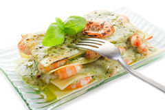 Lasagne shrimp and  pesto Royalty Free Stock Image