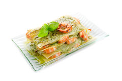 Lasagne shrimp and  pesto Royalty Free Stock Photography