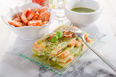 Lasagne with shrimp and  pesto Stock Image