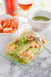 Lasagne with shrimp and  pesto Royalty Free Stock Image