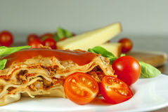 Lasagne. With tomato and vegetables and chesse on wood table stock photography