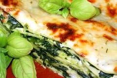 Lasagne végétarien avec le fil d'épinards de fromage de ricotta Images libres de droits