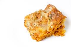 Lasagne von oben Stockfoto