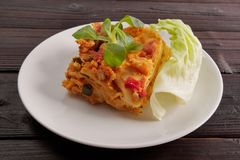 Lasagne With Cauliflower On A Table Royalty Free Stock Photos