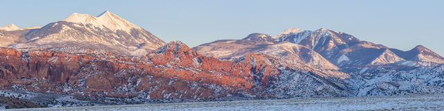 LaSal Mountains Sunset Panorama Royalty Free Stock Photography