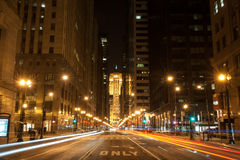 LaSalle Boulevard in Chicago Stock Images