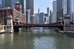 LaSalle Street Bridge. This is an early Spring picture of the iconic LaSalle Street Bridge Over The Chicago River located in Chicago River in Cook County.  This Stock Photo