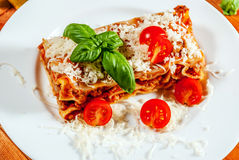 Lasanha italiana com tomate Fotografia de Stock Royalty Free