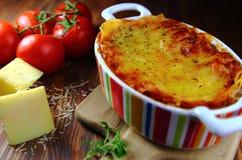 Lasanhas com os ingredientes para cozinhar Imagens de Stock Royalty Free