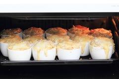 Lasanhas da pasta de fígados da galinha na micro-ondas Fotografia de Stock Royalty Free
