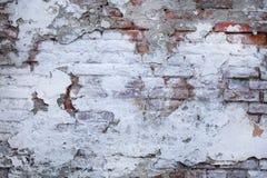 Lascado e descascando a pintura branca na parede de tijolo velha Imagem de Stock