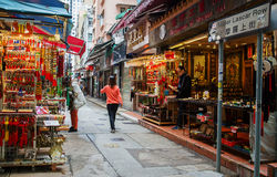 Lascar Row Street. In Hong Kong Sheung Wan district, filled with antiquity and souvenir shops stock photos